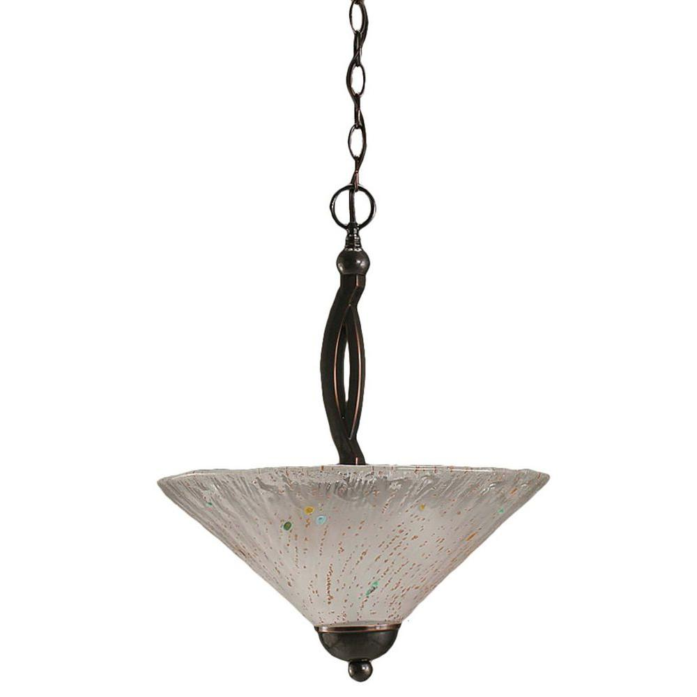 Filament Design Concord 2-Light Black Copper Pendant with Frosted Crystal Glass