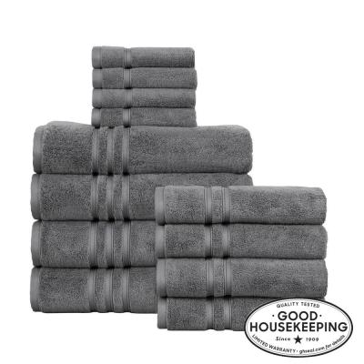 Turkish Cotton Ultra Soft 12-Piece Towel Set in Charcoal