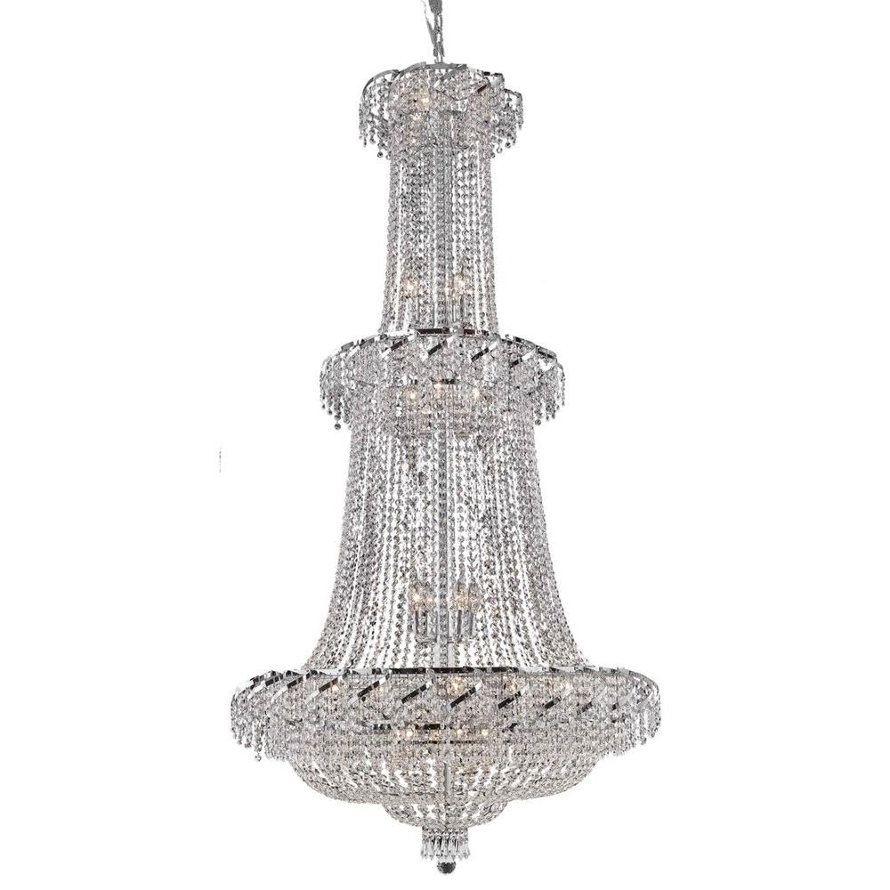 Elegant Lighting 32-Light Chrome Chandelier with Clear Crystal