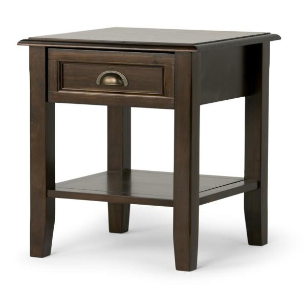 Simpli Home Burlington Solid Wood 18 in. Wide Square Traditional End