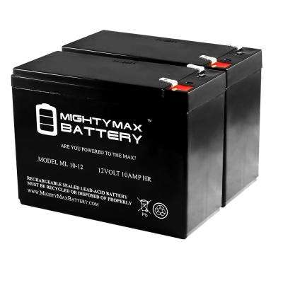 12-Volt 10 Ah SLA (Sealed Lead Acid) AGM Type Replacement Battery (2-Pack)
