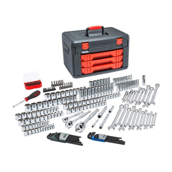 1/4 in., 3/8 in. and 1/2 in. Drive Mechanic Tool Set with 3-Drawer Storage Box (219-Piece)