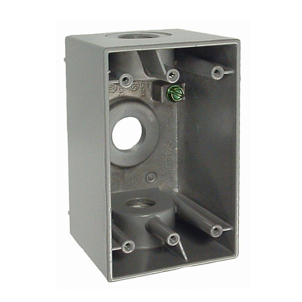 BELL 1-Gang Weatherproof Deep Gray Box with Three 1/2 in. Threaded Outlets
