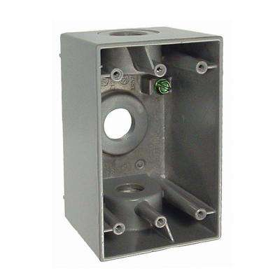 1-Gang Weatherproof Deep Gray Box with Three 1/2 in. Threaded Outlets