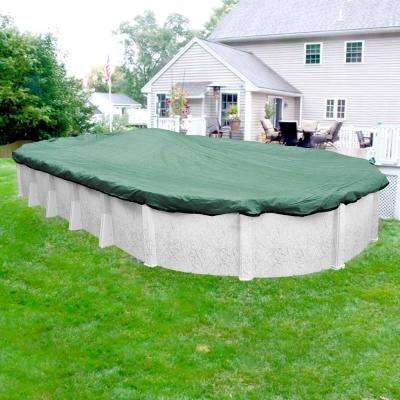 Extreme-Mesh 12 ft. x 18 ft. Oval Green/Black Winter Pool Cover
