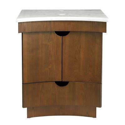 Madryn 24 in. Birch Vanity in Cognac with Marble Vanity Top in White