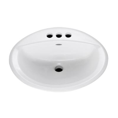 Aqualyn Extra Left Hand Hole Countertop Bathroom Sink with 4 in. Faucet Holes in White