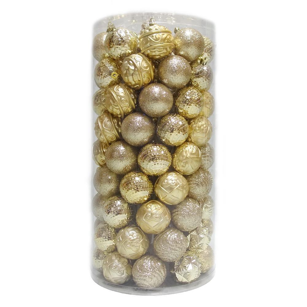 2.3 in. Shatterproof Ornament Gold (101-Piece)