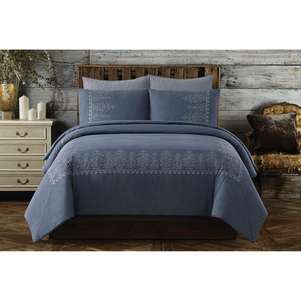 Cottage Classics Chambray Cotton Blue King Duvet Set DCS2696BLK-1800