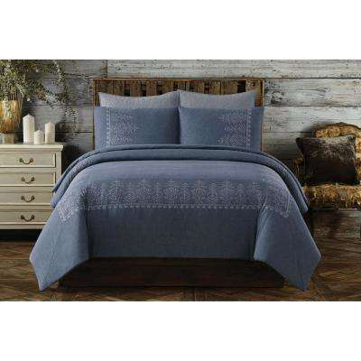 Chambray Cotton Blue Full/Queen Duvet Set