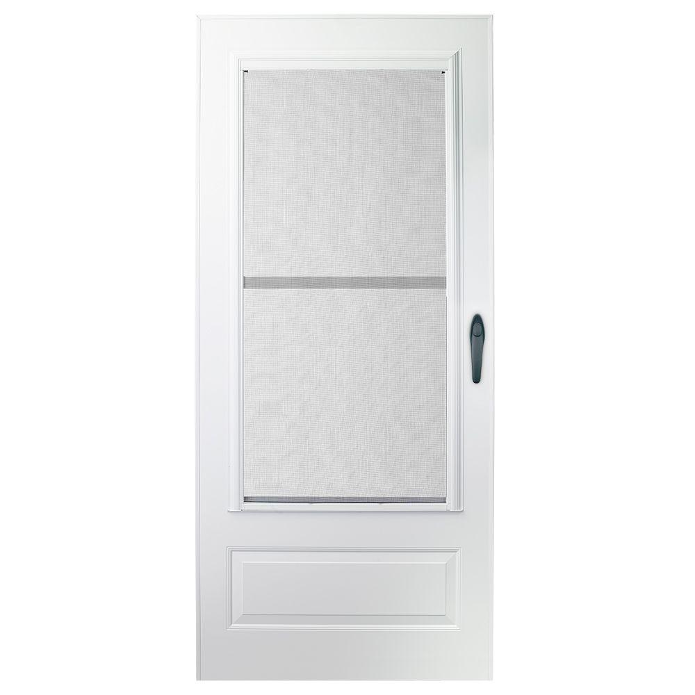 Emco 36 in x 78 in 100 series plus white self storing for 36 inch storm door
