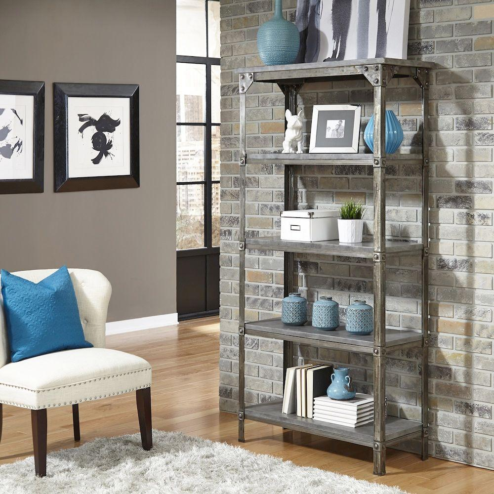 Perfect Home Styles Urban Style Light Gray Open Bookcase