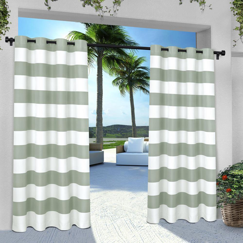 Indoor Outdoor Stripe 54 in. W x 84 in. L Grommet Top Curtain Panel in Seafoam (2 Panels)