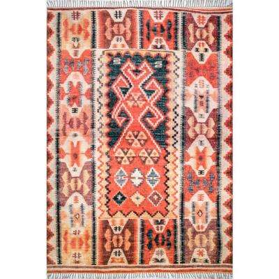 Vintage Allison Aztec Fringe Rust 5 ft. x 8 ft. Area Rug