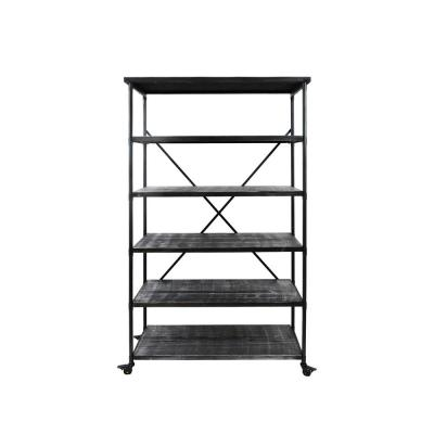 Farrells 68.00 in. Pewter Wood 5-Shelf Etagere Bookcase with Casters