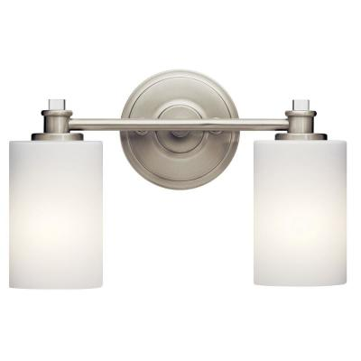 Joelson 2-Light Brushed Nickel Integrated LED Vanity Light Bar with Satin Etched Cased Opal Glass