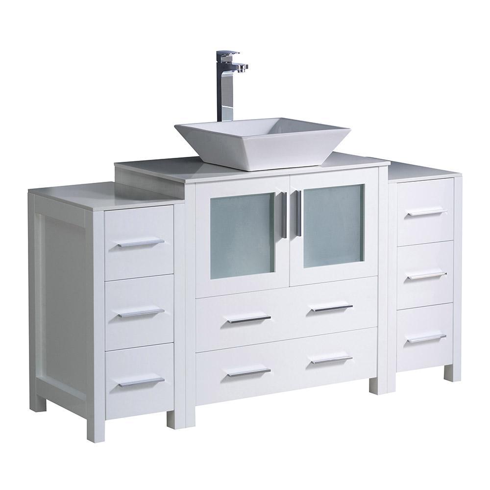 Fresca Torino 54 in. Bath Vanity in White with Glass Stone Vanity Top in White with White Basin