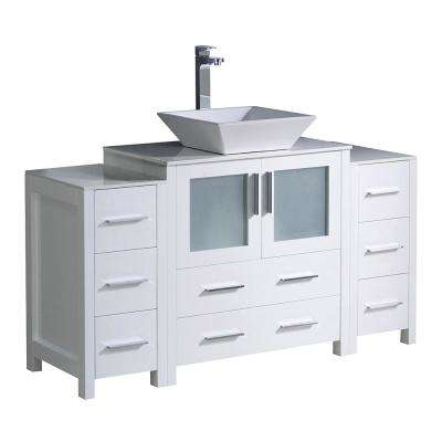 Torino 54 in. Bath Vanity in White with Glass Stone Vanity Top in White with White Basin