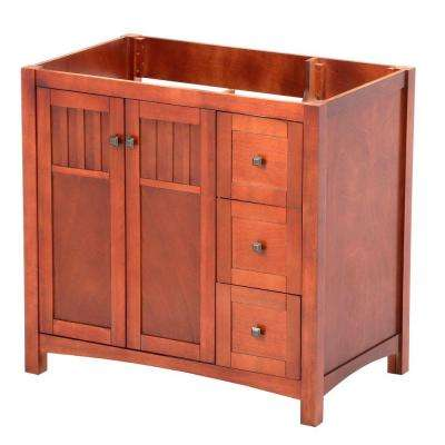 Knoxville 36 in. W x 21.625 in. D x 34 in. H Vanity Cabinet Only in Nutmeg
