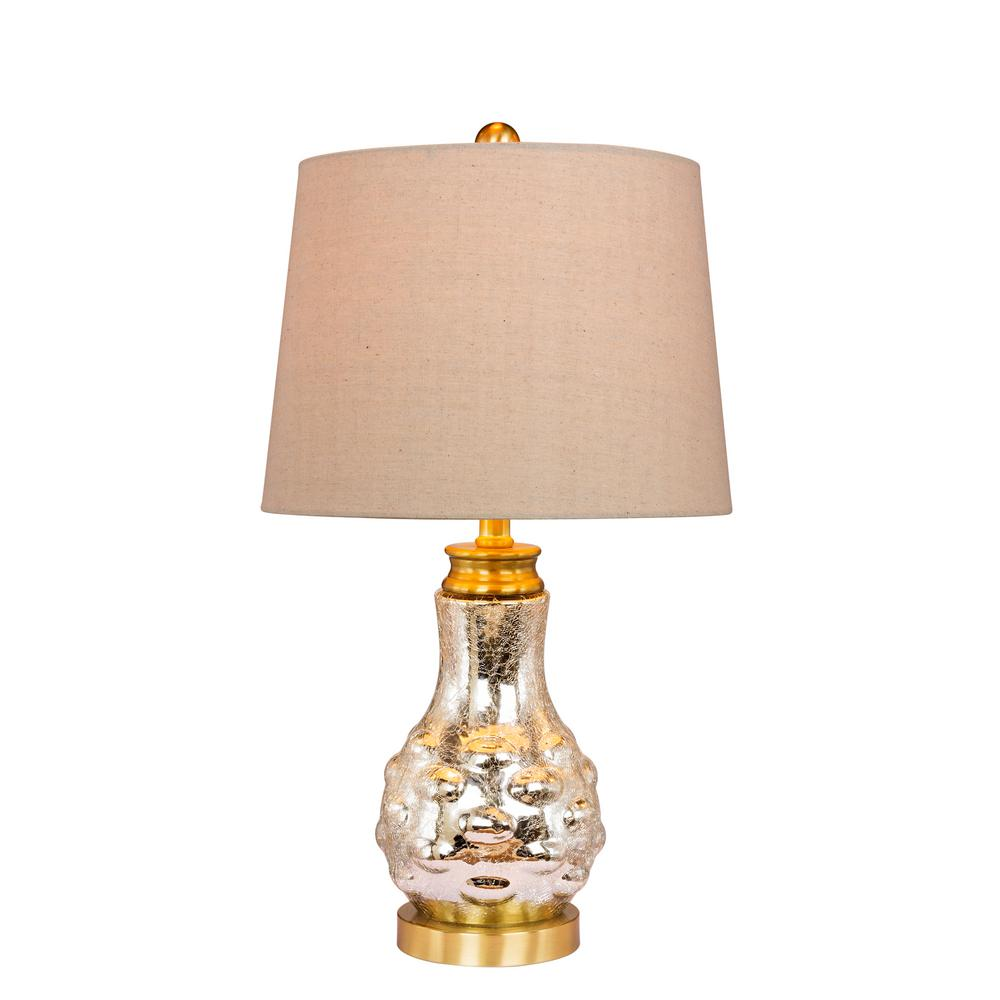 22.5 in. Bubbled Genie Bottle Glass and Metal Table Lamp in a Mercury Glass and Satin Brass