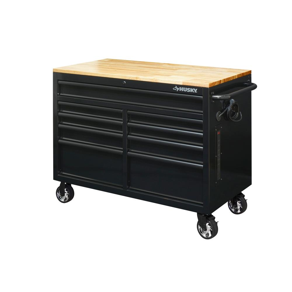 Husky 46 In W X 24 5 In D 9 Drawer Mobile Workbench With Solid Wood Top In All Black Finish Hotc4609b14m The Home Depot