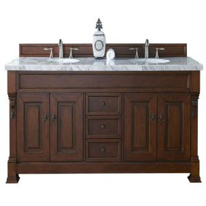 James Martin Signature Vanities Brookfield 72 inch W Double Vanity in Warm Cherry with Marble Vanity Top in Carrara... by James Martin Signature Vanities