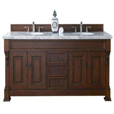 Brookfield 72 in. W Double Vanity in Warm Cherry with Marble Vanity Top in Carrara White with White Basin
