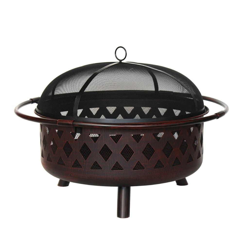 ALEKO 36 in. x 20 in. Round Wood and Coal Steel Fire Pit with Flame Retardant Lid and Poker