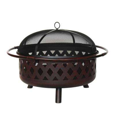 36 in. x 20 in. Round Wood and Coal Steel Fire Pit with Flame Retardant Lid and Poker