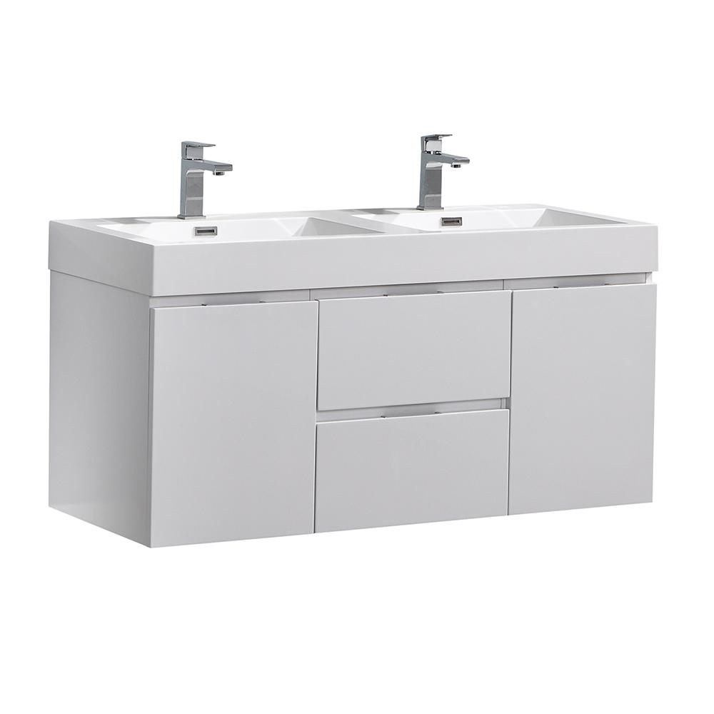 Fresca Valencia 48 in. W Wall Hung Bathroom Vanity in Glossy White with Acrylic Vanity Top in White
