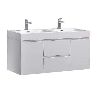Valencia 48 in. W Wall Hung Bathroom Vanity in Glossy White with Acrylic Vanity Top in White
