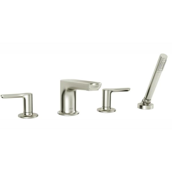 Studio S 2-Handle Deck-Mount Roman Tub Faucet for Flash Rough-in Valve with Hand Shower in Brushed Nickel