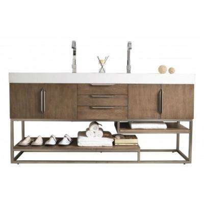 Columbia 72 in. W Double Vanity in Latte Oak with Solid Surface Vanity Top in White with White Basin