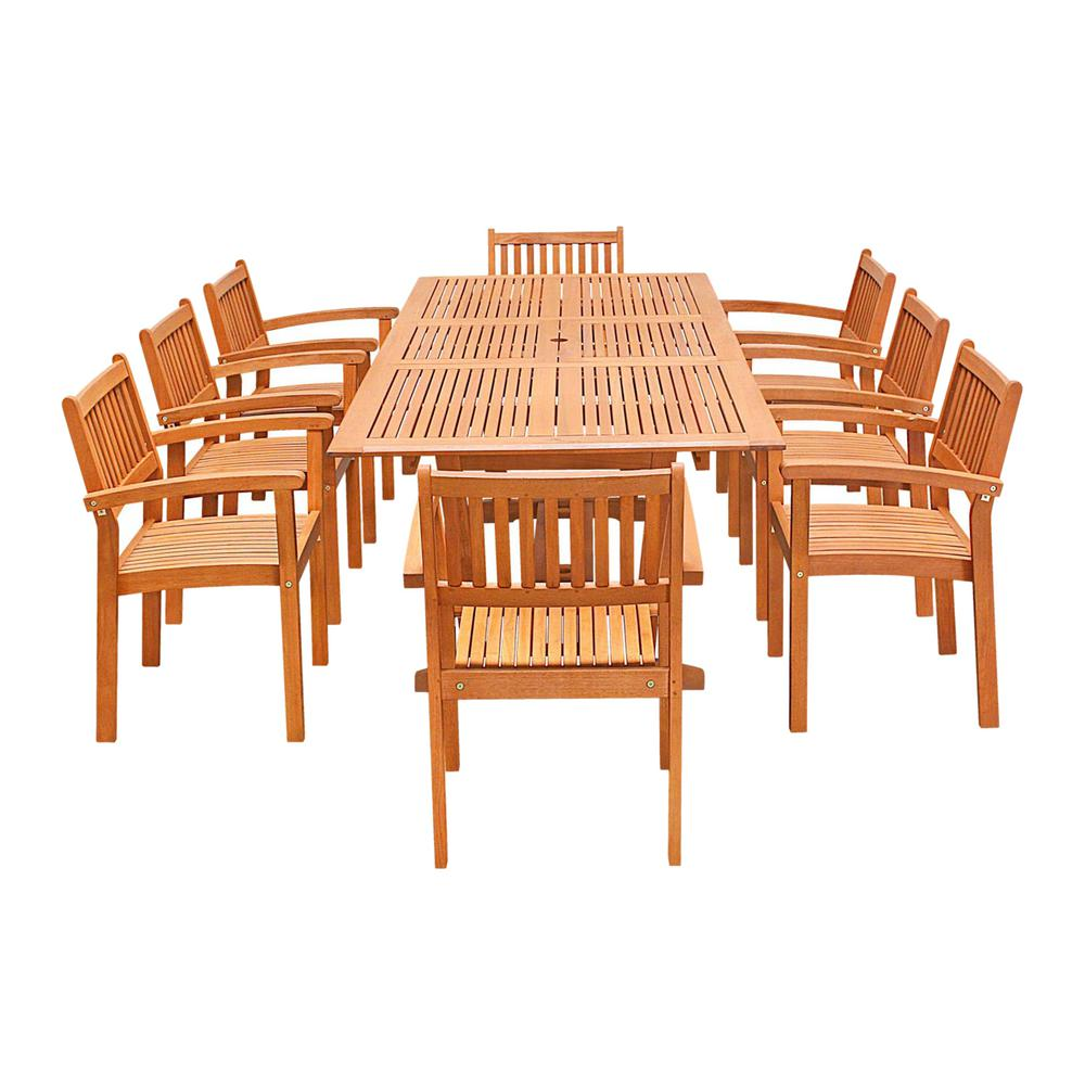 Vifah Eco-Friendly 9-Piece Wood Outdoor Dining Set with R...