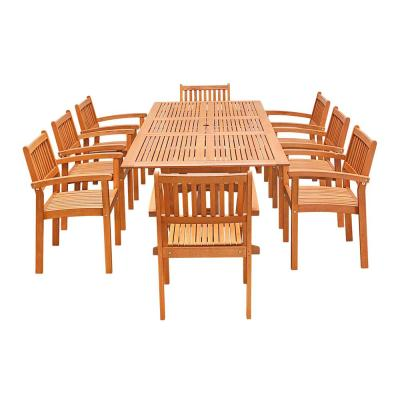 Vifah Eco-Friendly 9 pc Wood Outdoor Dining Set w/ Rectangular Extension Table and Stacking Chairs