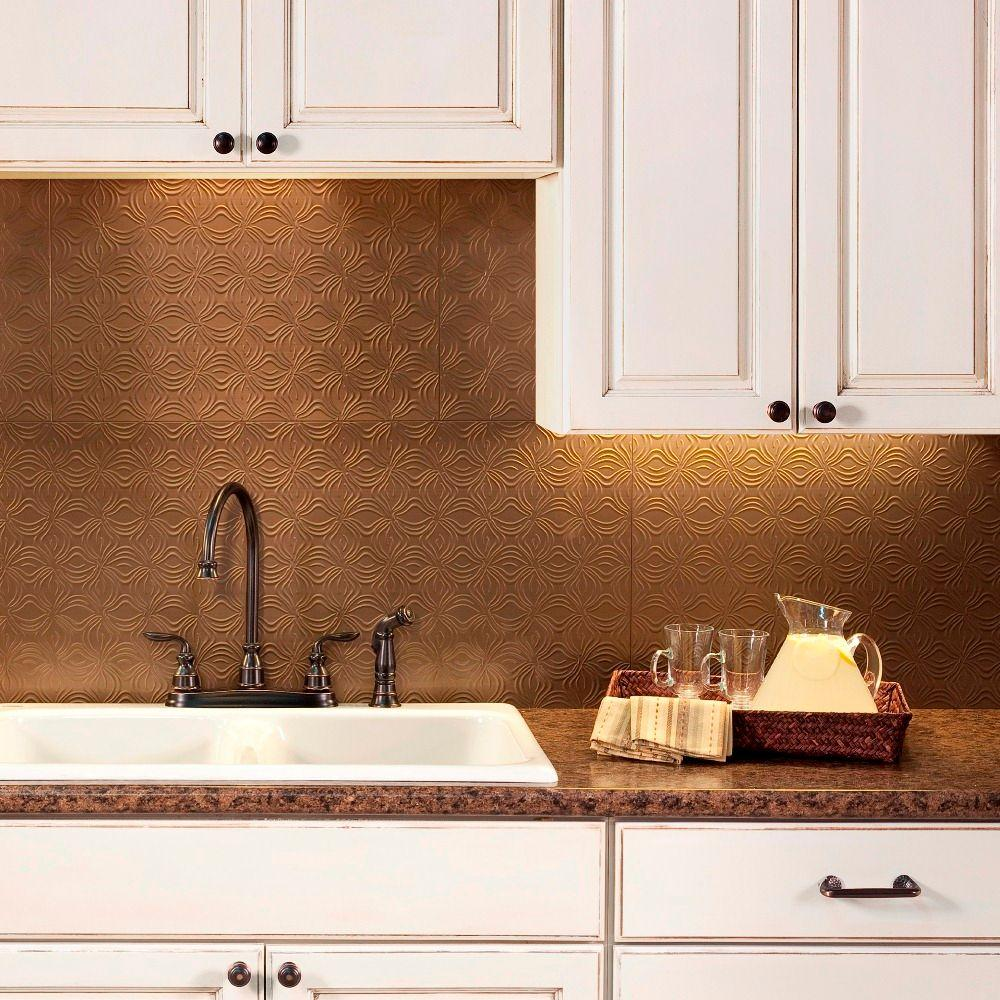 Backsplash Panels: Fasade 24 In. X 18 In. Lotus PVC Decorative Tile