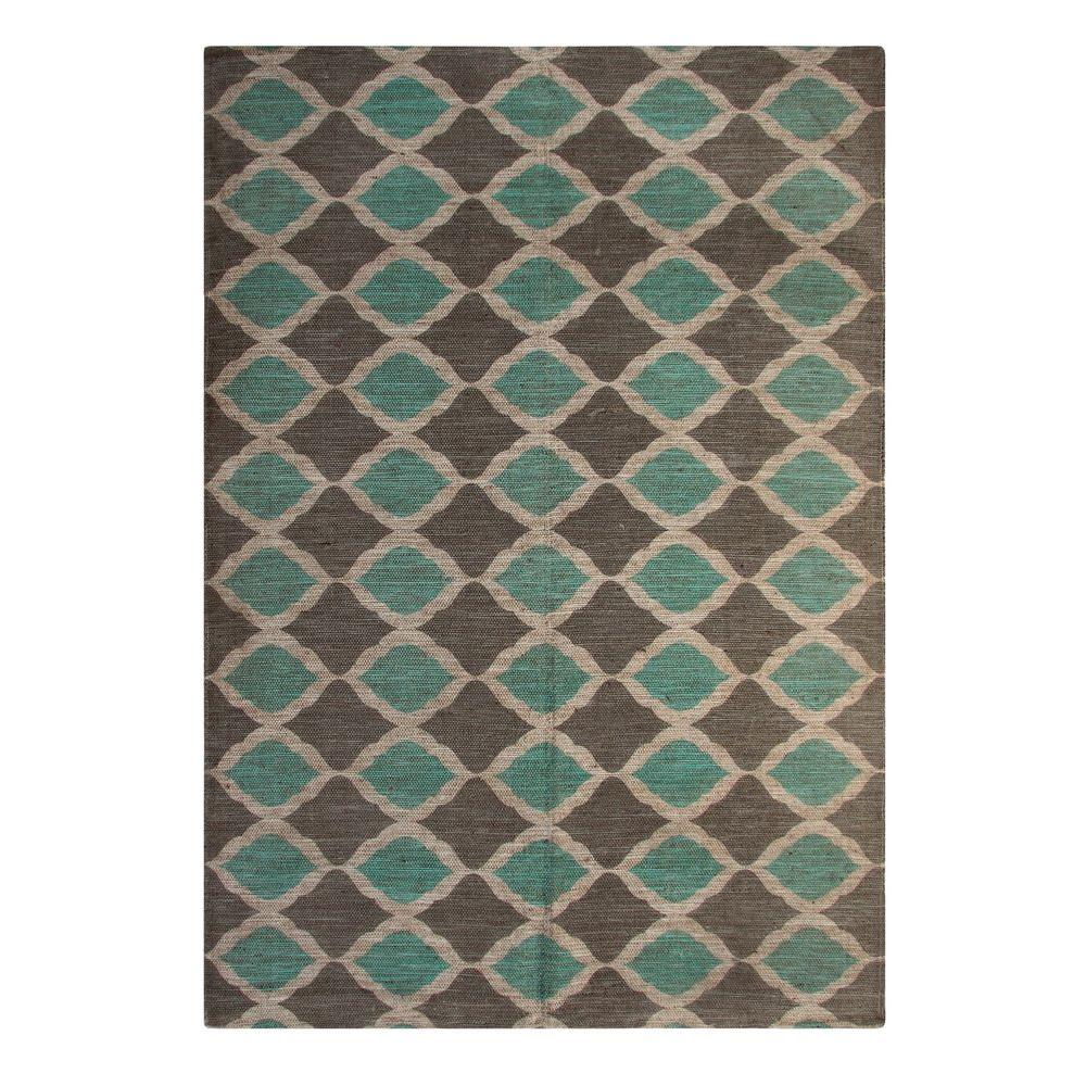 Matrix Turquoise and Taupe 5 ft. x 7 ft. Indoor Area Rug,...