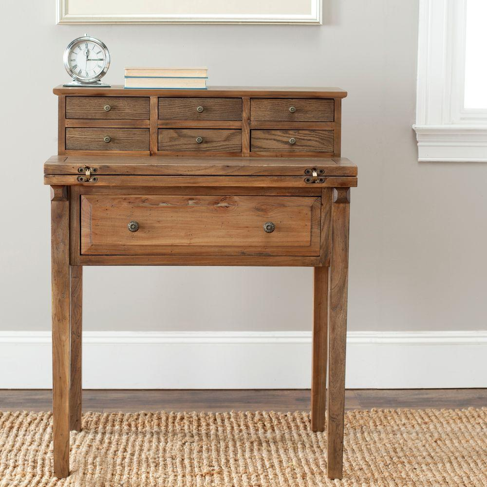 Safavieh Abigail Oak Desk With Drawers Amh6520c The Home