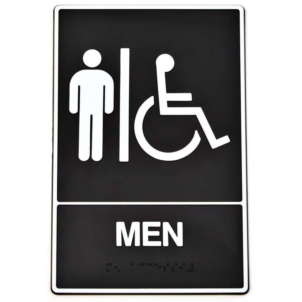 All-Gender Restroom Sign in Black and White Clear Window Cling 16x16 CGSignLab 5-Pack