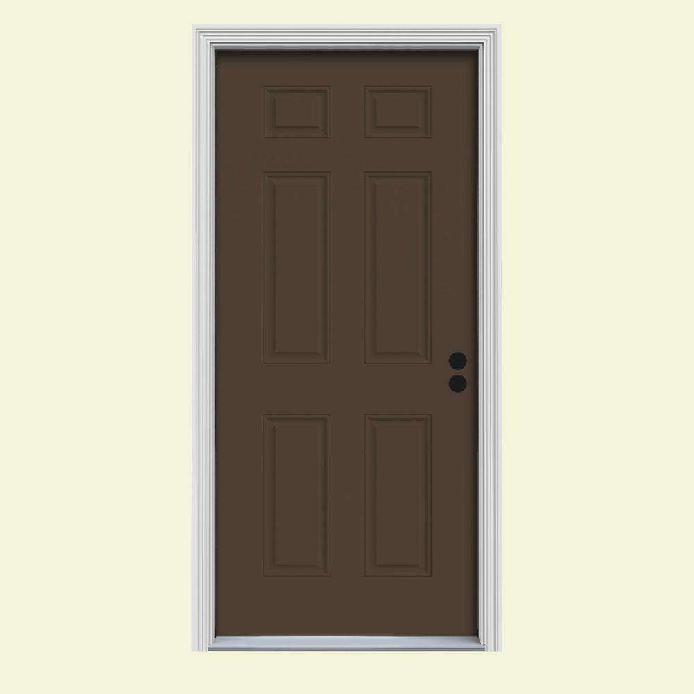 JELD-WEN 34 in. x 80 in. 6-Panel Dark Chocolate Painted Steel Prehung Right-Hand Inswing Front Door w/Brickmould