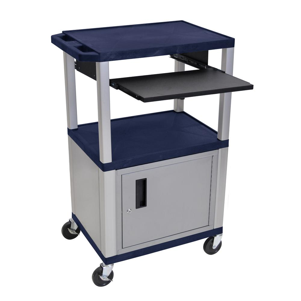 A/V 42 in. 3-Shelf Utility Cart with Cabinet in Navy Colored