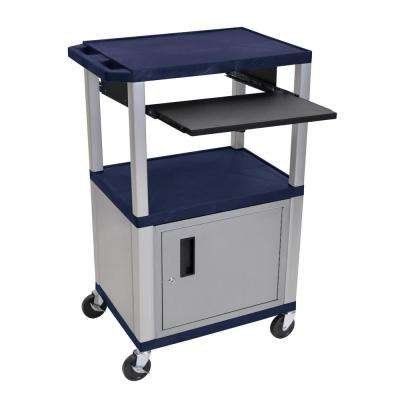 A/V 42 in. 3-Shelf Utility Cart with Cabinet in Navy Colored Shelves and Nickel Legs