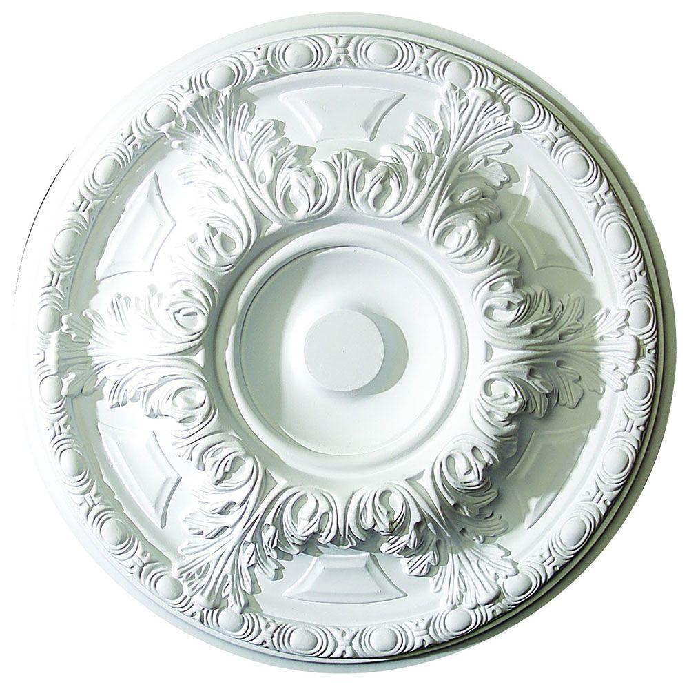 American Pro Decor 19 in. x 1-5/8 in. Leaf and Running Bead Polyurethane Ceiling Medallion