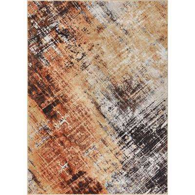 Hughes Artemis 5 ft. x 7 ft. Modern Distressed Brush Strokes Nordic Copper Area Rug
