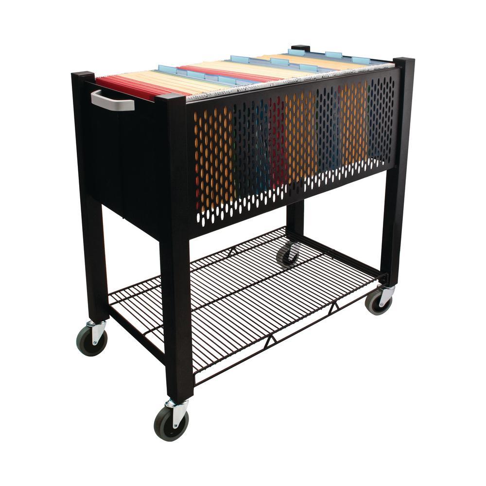 Steel Open Top File Cart in Black