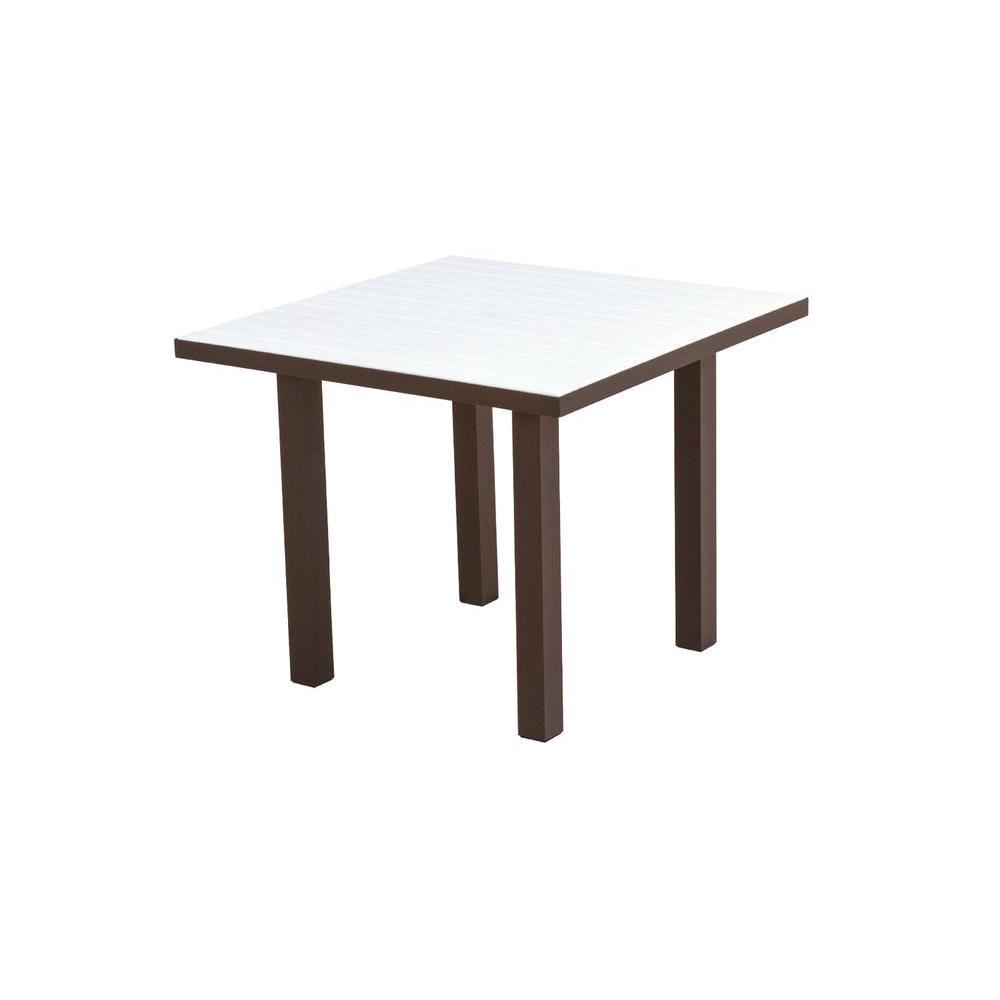 POLYWOOD Euro Textured Bronze 36 in. Square Plastic Outdoor Patio Dining Table with White Top