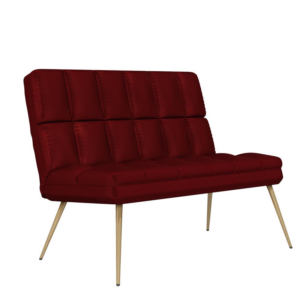 Wallis Modern Tufted Armless Ruby Red Velvet Loveseat