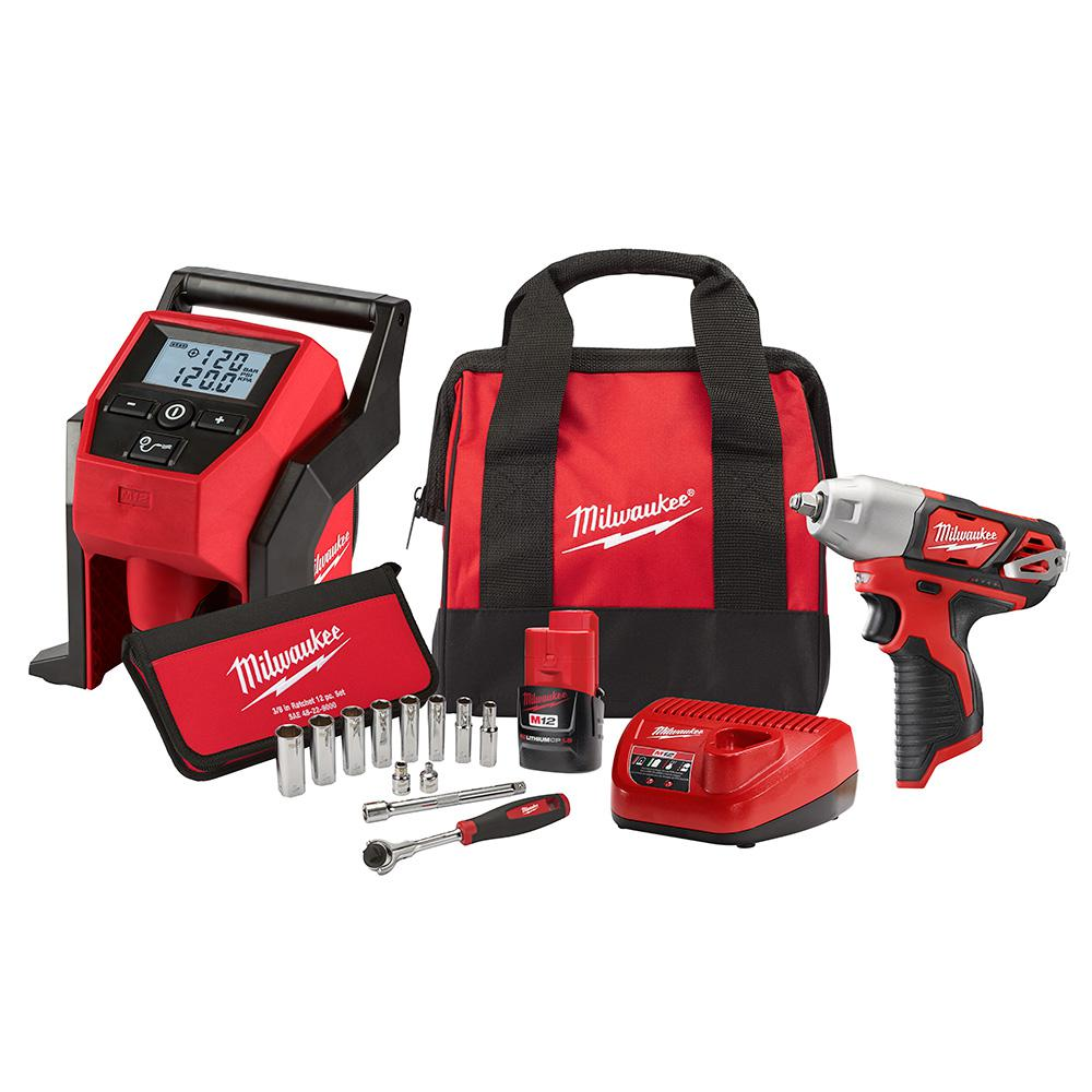 Impact Driver Combo Kit Milwaukee  Cordless 3//8 in Ratchet and 1//4 in