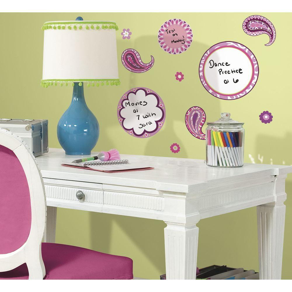 RoomMates 5 in. x 11.5 in. Paisley Dry Erase Peel and Stick Wall Decal