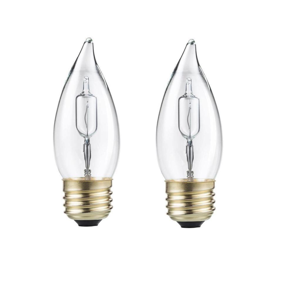 Philips 40 Watt Equivalent Ba11 Halogen Bent Tip Candle Light Bulb 2 Pack
